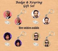 RETRO MUSIC STARS BADGE & KEYRING GIFT SET CASSIDY BON JOVI BUBLE OSMOND JACKSON