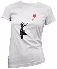"""T-SHIRT DONNA """"Banksy - Balloon Girl"""" - maglietta 100% cotone Bianco"""
