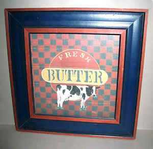 "Painted Wood sign FRESH BUTTER Black White Cow 16"" square hanger back FREE SH"
