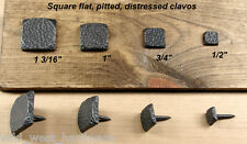 "Clavos, Rusic nails,  Lot of (10)  1"" square, pitted, Oil rubbed bronze"