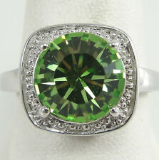 Sterling Silver Round Single Cut Green Crystal Prongs Setting Ring 8.25