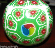 LARGE HANDMADE GLOW IN DARK GREEN+WHITE+RED FLOWER DESIGN CANDLE BALL+BOX-#79