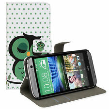 Sleep Owl Design Leather Wallet Money Card Case Cover Stand for HTC One M8