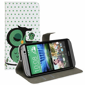 For HTC One M8 Sleep Owl Design Leather Wallet Money Card Case Cover Stand