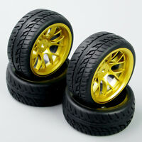 DHG 4PCS 1:10 On Road Racing Rubber Tyre Wheel Rim Set For HPI HSP RC Car