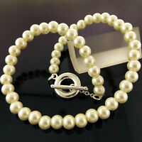 PEARL NECKLACE CHAIN GENUINE REAL 925 STERLING SILVER S/F LADIES T'BAR DESIGN