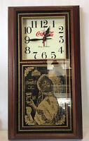 "Vintage Coca-Cola Wall Clock Quartz Pendulum 24""x14"" Saloon Bar~Never Used"
