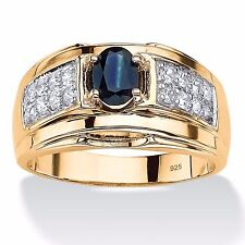 MENS BLUE SAPPHIRE 14K GOLD OVER STERLING SILVER CZ RING SIZE 8 9 10 11 12 13