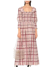 GANNI Checked Pink Maxi M cotton and silk midi dress 80's shirred long sleeve