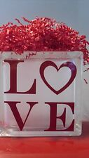 """Christmas Valentine """"LOVE"""" RED Decal for YOUR Glass Block Night light"""