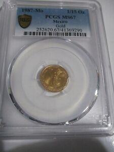 1987 1/15th ONZA GOLD LIBERTAD, PCGS MS 67, RAREST LIBERTAD, ONLY 11 NGC / PCGS