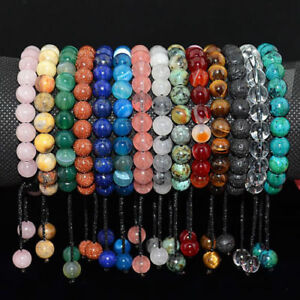 Men's Women's 8mm Natural Gemstones Macrame Beads Handmade Bracelet Adjustable