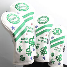 NEW WHITE CASH MONEY PREMIUM PU LEATHER HEAD COVER SET 4 COVERS D,3,5 & HYBRID