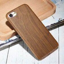 For iPhone 7 & 7+ PLUS - Ultra Thin Hard TPU Rubber Wood Grain Case Cover Skin