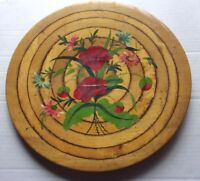 """Antique Hand Painted 15"""" Round Wood Tray w/ Concentric Circles"""