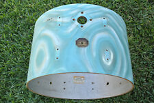 """VINTAGE GRETSCH 22"""" AQUA SATIN FLAME BASS SHELL + BADGE for YOUR DRUM SET! #D88"""