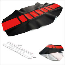 Black Red Leather Gripper Double Stitched Rubber Motorbike Seat Cover Protection