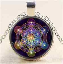 Metatron's Cube Photo Cabochon Glass Tibet Silver Chain Pendant Necklace
