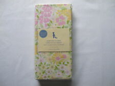 pottery barn kids HEATHER FLORAL Yellow Pink CRIB SHEET Flowers NEW Cotton RARE