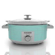 Slow Cooker Teal 7 Quart Crock Pot Kitchen Black Decker Turquoise Oval Qt NEW