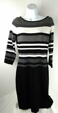 RALPH LAUREN Womens Sz M Sweater Dress 3/4 Sleeve Knee Length Stripe Black White