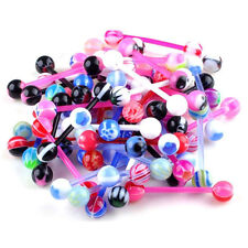 10 Pcs Mixed Steel Ball Tongue Nipple Bar Ring Barbell Body Piercing Jewelry、UK
