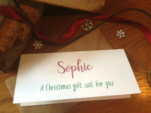 Christmas Money / voucher Wallets Personalised Christmas gift.  Personalised