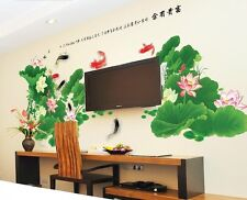 XLarge Chinese Lotus Carp Fish Wall Decal Sticker 2 In 1 Home Decor Vinyl Art
