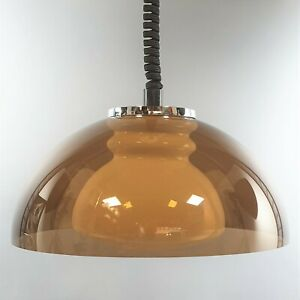 Vintage Space Age Smoked Acrylic Dome + Glass Rise n Fall Pendant Light Lamp Där