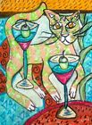 Cat Dancing around Martinis Folk Art Print 8 x 10 Vintage Style Signed by Artist