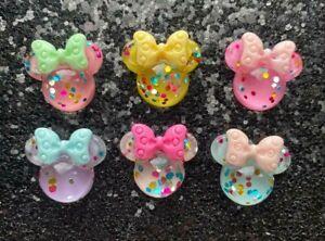 Mini Mouse Disney Glitter Flat Back Resin Bow Centre Hot Fix Embellishment Craft