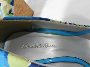 Charlotte Russe Ladies Wedge High Heels Size 7 Open Toe Blue/Green/White Floral
