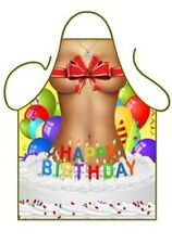 WOMEN'S FUN NOVELTY APRON, SEXY HAPPY BIRTHDAY GIRL JUMPS FROM CAKE BBQ, KITCHEN