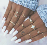 13PCS/set BOHO Moon & Star Knuckle Opal Finger Ring Set Crystal Crown Midi Rings