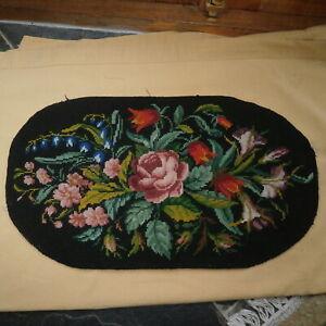 VINTAGE WOOL TAPESTRY BLACK BACKGROUND ROSES BLUEBELLS PRIMROSE OVAL PANEL