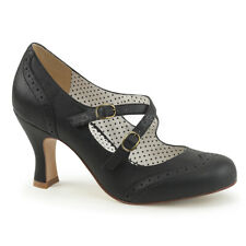 Pin up Couture Womens Perforated Wingtip Criss Cross Strap Dress Pump Flapper-35 9 Black Faux Leather