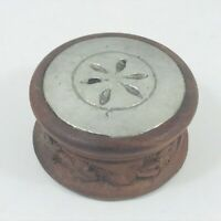 SMALL WOODEN  LIDDED TRINKET POT BOX