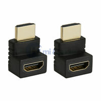 2x HDMI Male to HDMI Female Right Angle Narrow Adapter 1080p 270 Degree