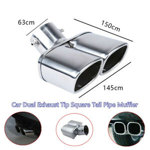 Car SUV Stainless Steel Dual Exhaust Tip Square Tail Pipe Muffler Part 63mm/2.5""