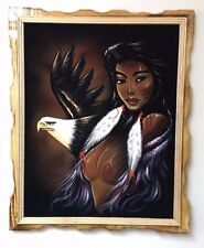 """NUDE PAINTING VINTAGE, WOMAN & EAGLE , VELVET PAINTING,18"""" BY 22""""W, FRAMED,"""