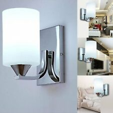 New Silver Chrome White Glass Indoor Wall Light Lamp Bedroom Sconce Decor