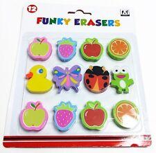 Pack Of 12 Funky Eraser Novelty Animals & Fruit  Erasers Child Kids School Fun