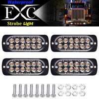 4x White 12 LED Strobe Light Bar Truck Hazard Beacon Flash Warning Emergency 36W