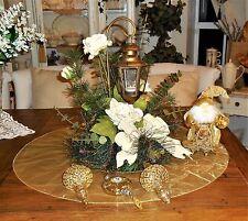 Christmas Table Centerpiece Tea Light Lanter W/ Skirt - Santa & Ornament Lot 45