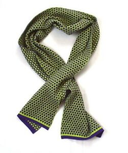 Reversible Purple & Lime Green Wool Knit ALTEA Scarf Wrap Made in Italy 10 x 63