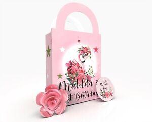 Personalised Beautifiul Flamingo Gift Bag, Party Bag, Party Box, Treat Bag/Box