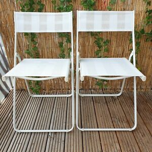 White Folding Deck Chairs Great Condition Nylon Metal Frame Outdoor Seating ⭐⭐