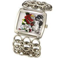 ED HARDY + Swarovski crystal NEW & Box Geisha Steel Chain Link Lynx Watch Japan