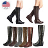 DREAM PAIRS Women Faux Fur Low Wedge Heel Knee High Winter Fashion Riding Boots