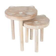 RUSTIC FARMHOUSE SET 2 SOLID MANGO WOOD CAT SIDE TABLES STOOLS SHABBY HOME CHIC